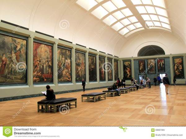 Stunning View Of Hanging Masterpieces Louvre Paintings David And Goliath