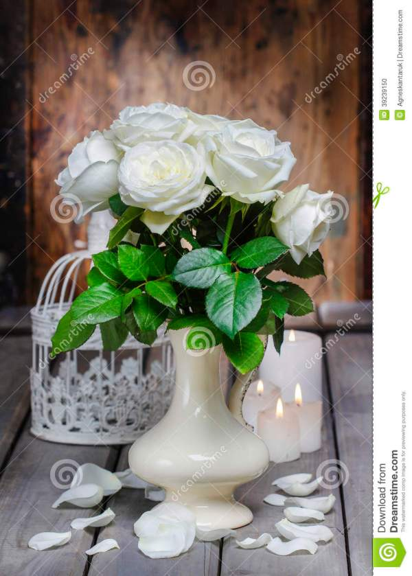 Rustic White Roses in Vases