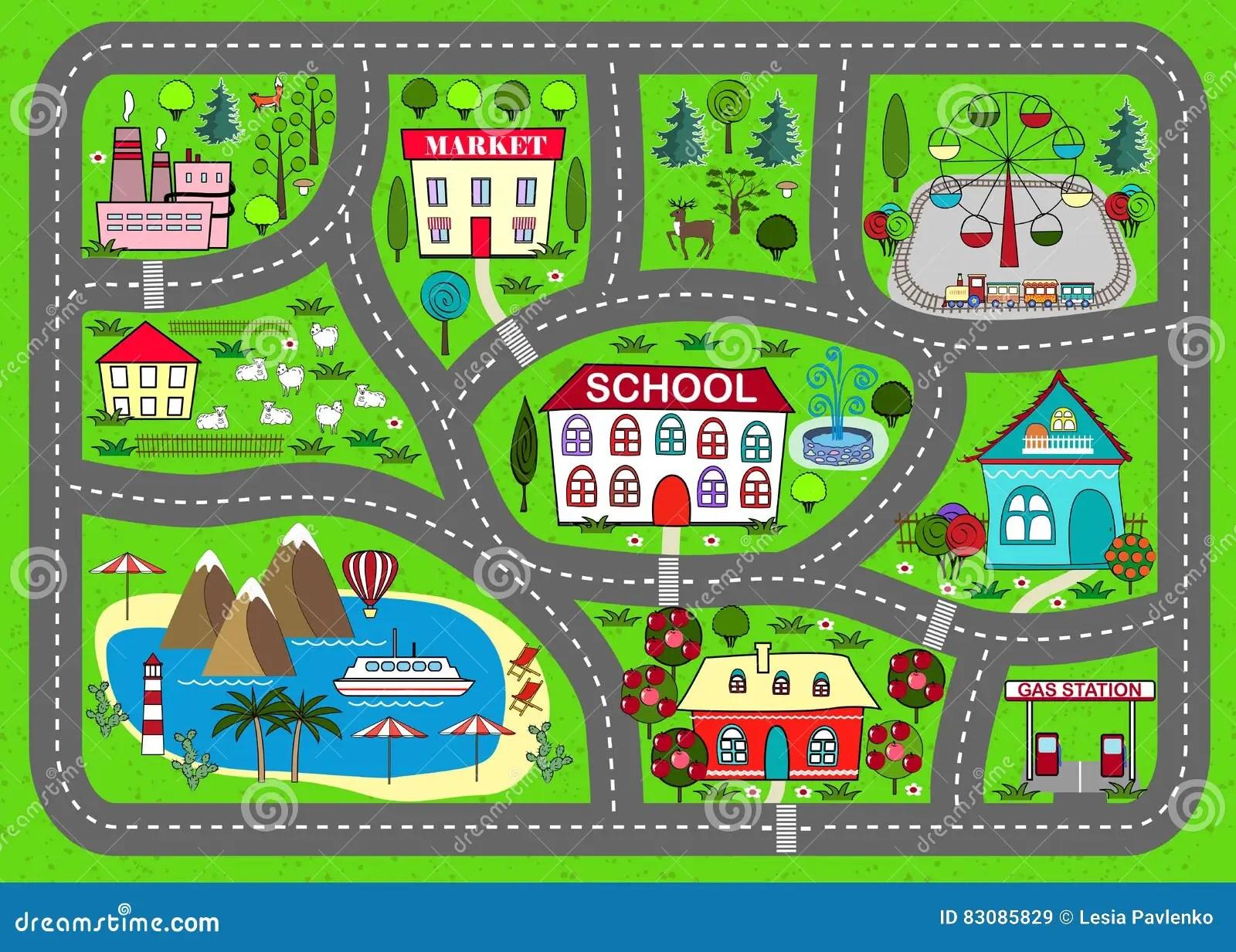 Stuoia Del Gioco Della Strada Per I Bambini Attivita E Spettacolo Illustrazione Vettoriale