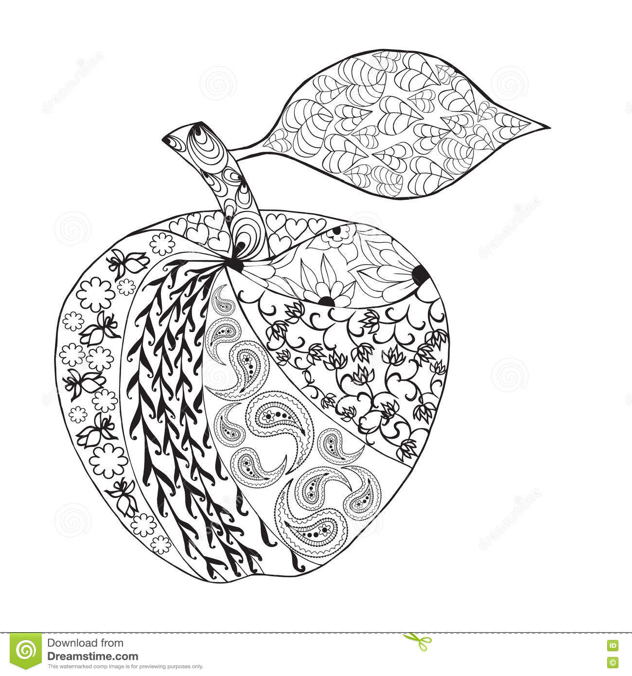 Style Monochrome De Zentangle D Apple De Vecteur Pour