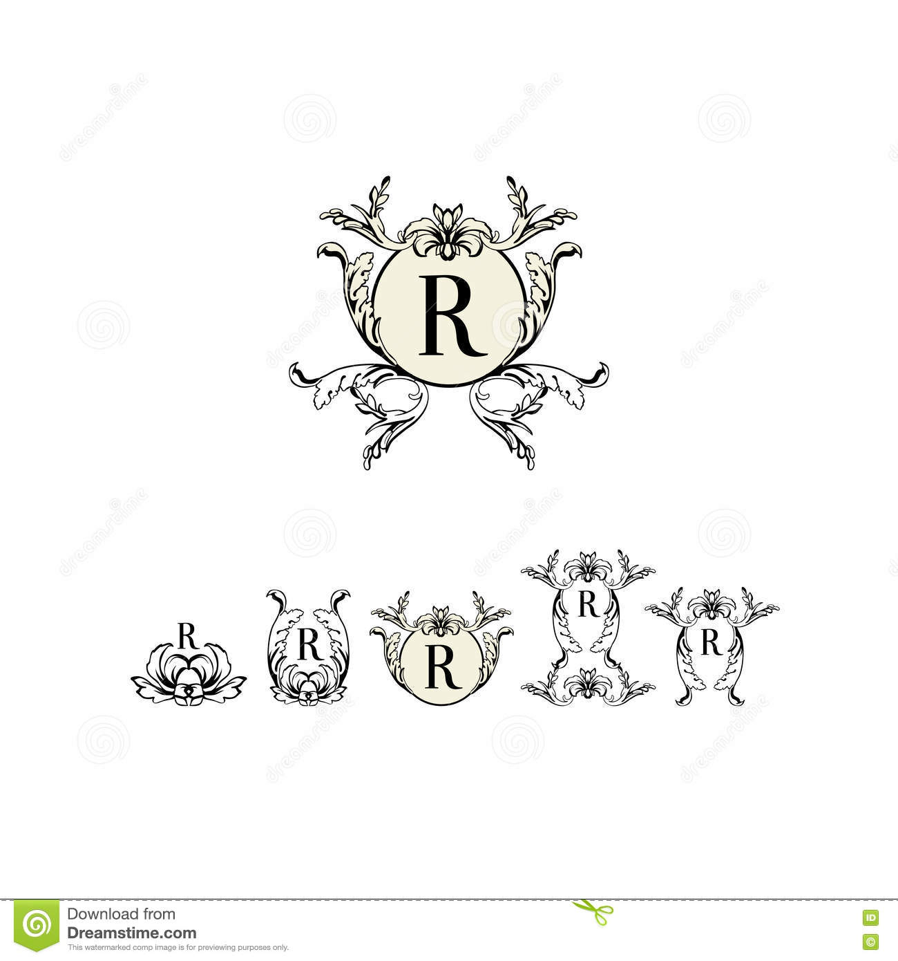 Stylish And Elegant Frame Design Template With Letter R