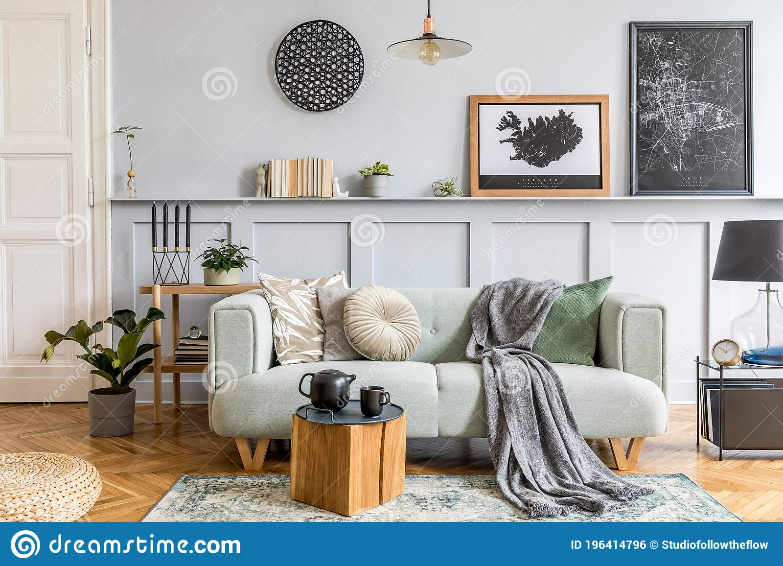 stylish interior design of living room with modern mint sofa wooden console cube coffee table lamp plant mock up poster stock photo image of modern interior 196414796