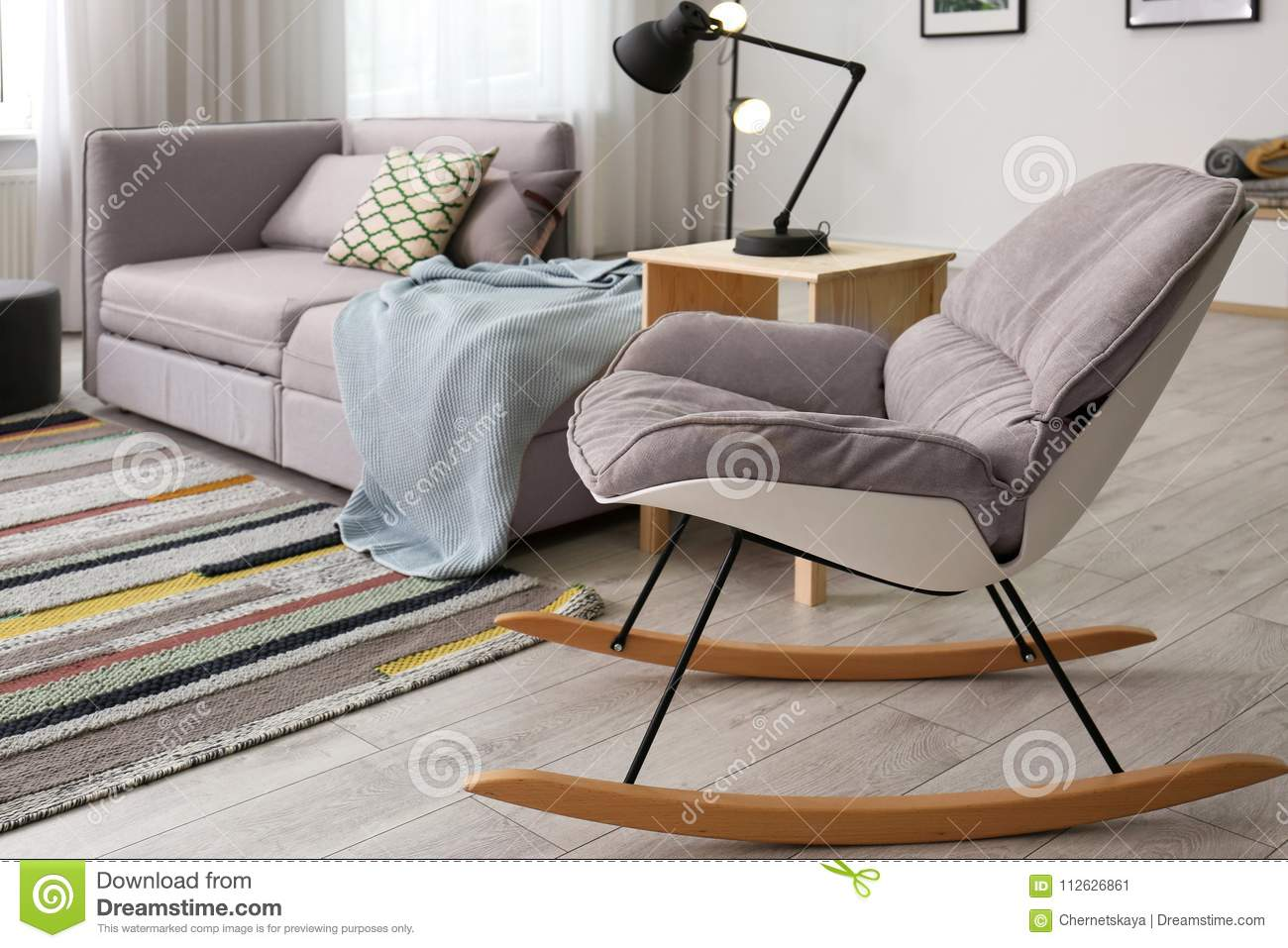 sofa rocking chair smart bed uk stylish living room interior with stock image and comfortable