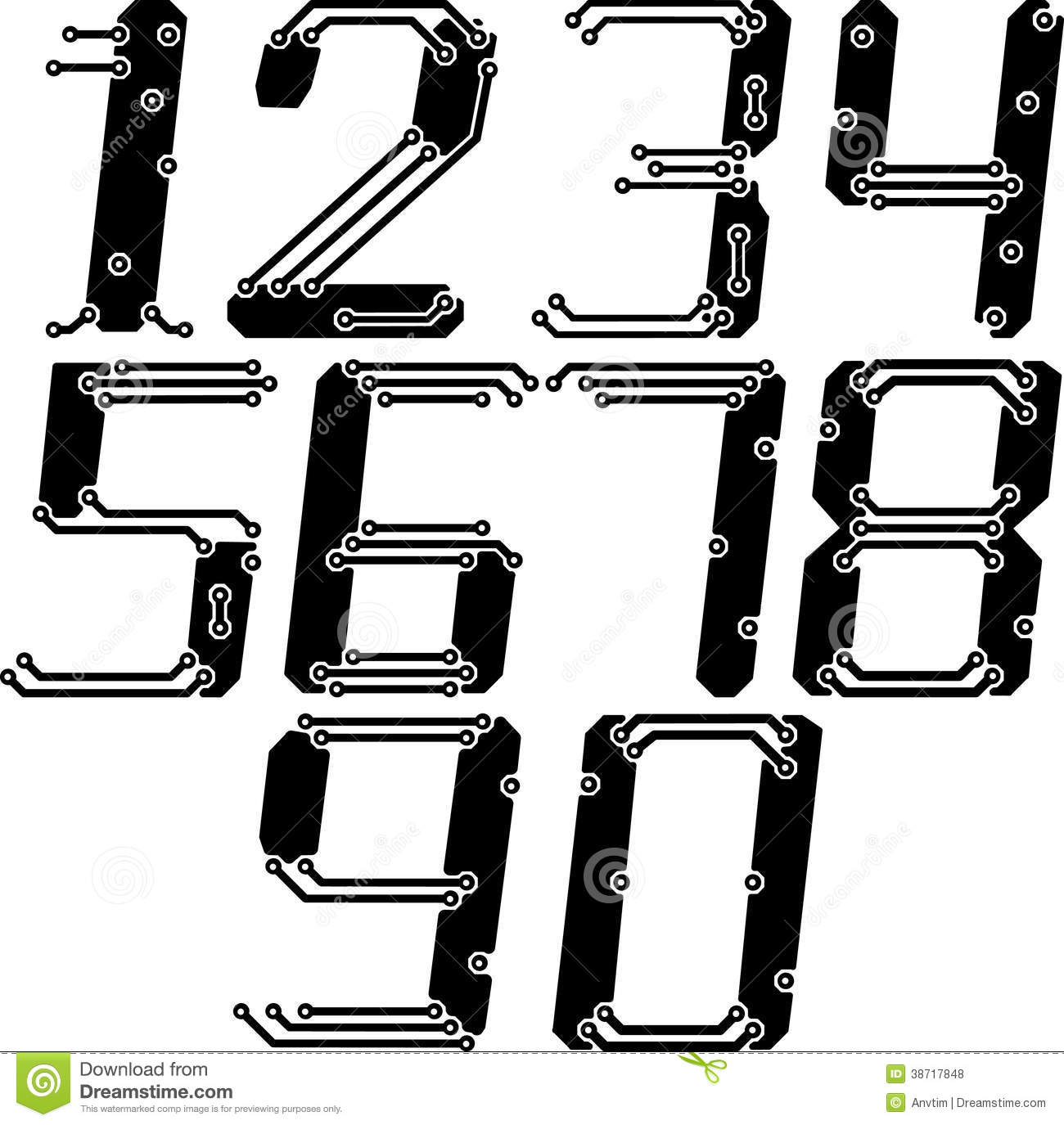 Stylish Pcb Electric Wires Numbers In Italics Royalty Free