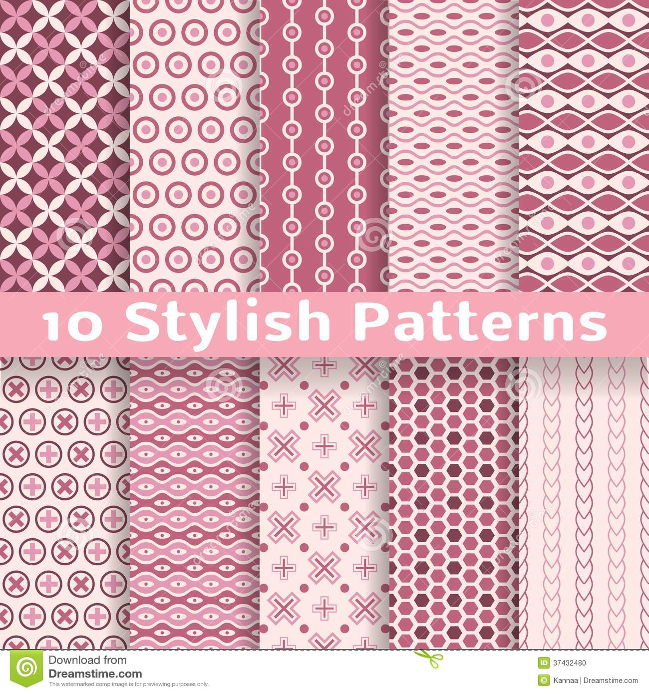 Stylish Vector Seamless Patterns Tiling Pink Stock