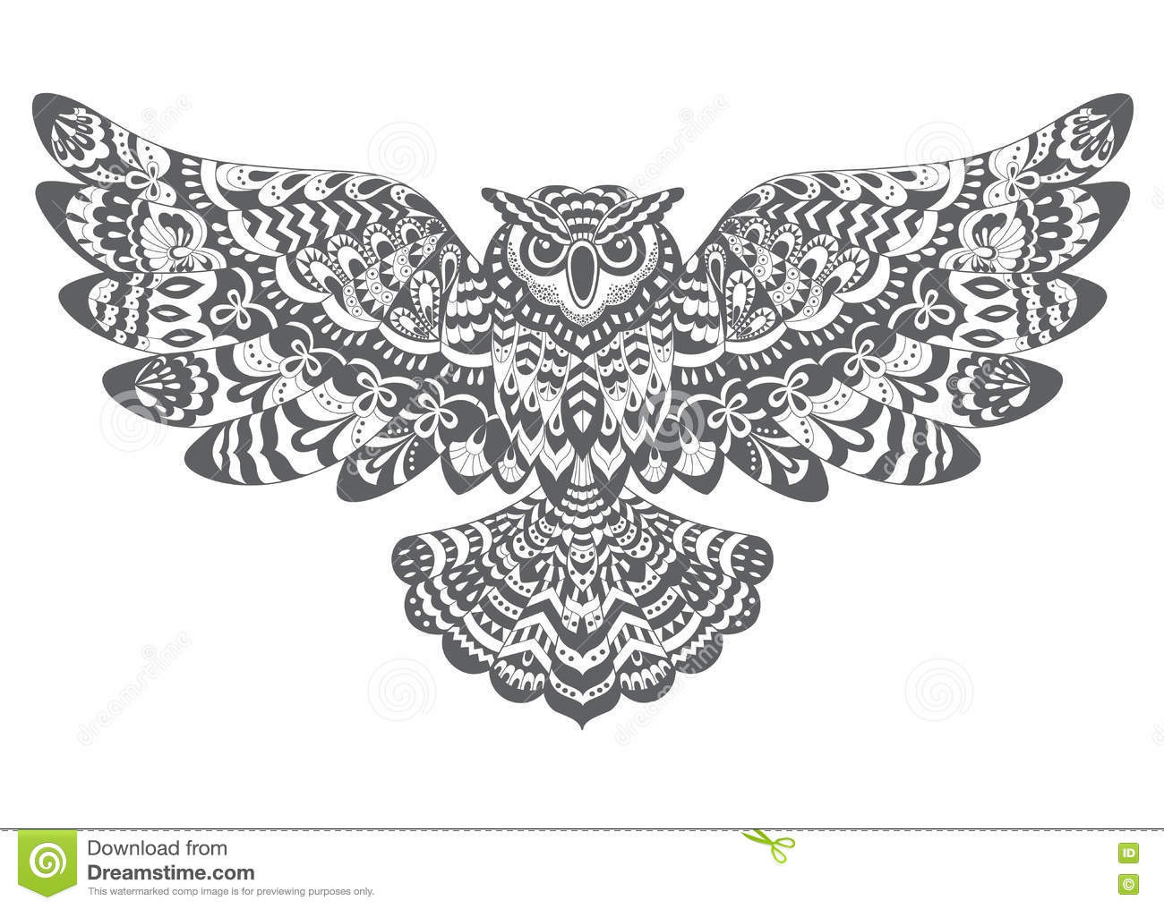 Stylized Decorative Vector Owl Drawing For Coloring Book