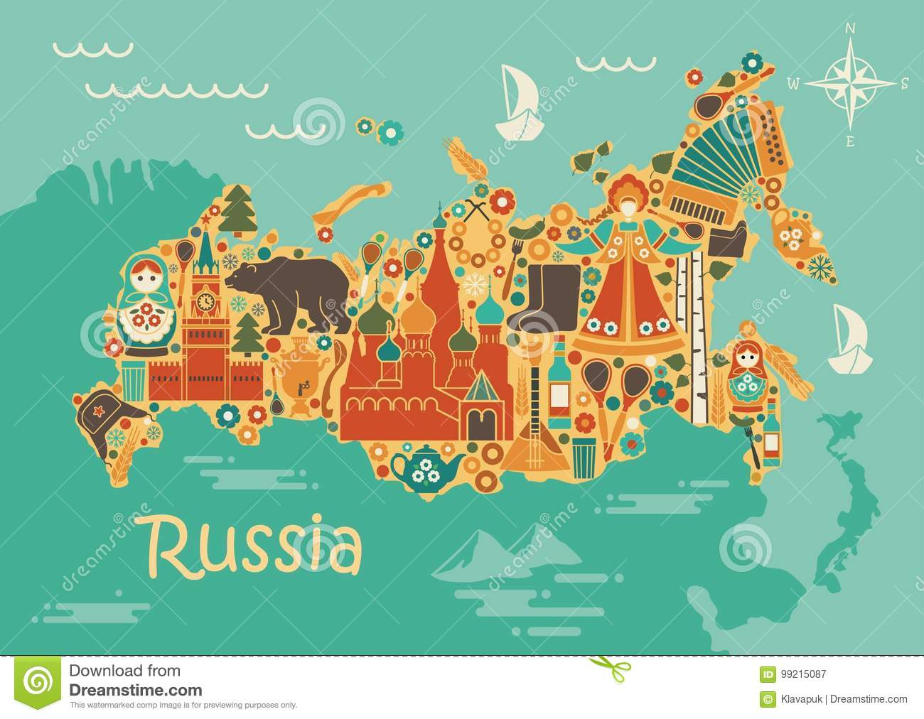 A Stylized Map Of Russia With The Symbols Of Culture And Nature Stock Vector