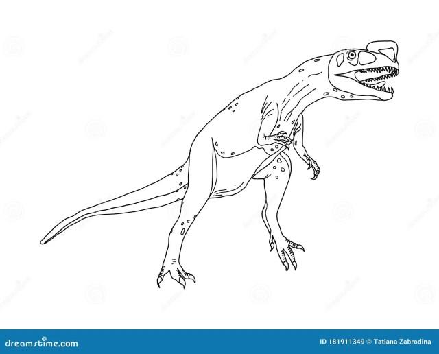 Stylized Predatory Dinosaur Dilophosaurus Coloring Page on a White