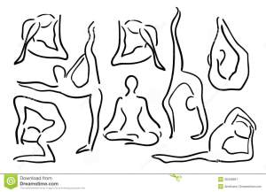 yoga poses sketch illustration vector stylized outline asana illustrations royalty drawing drawings sketches dreamstime painting elegant bodies female flexibility pilates