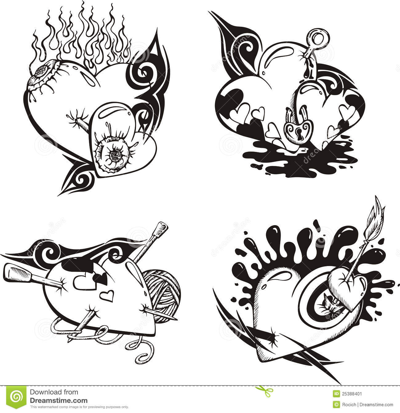 Stylized Tattoos With Hearts Stock Vector