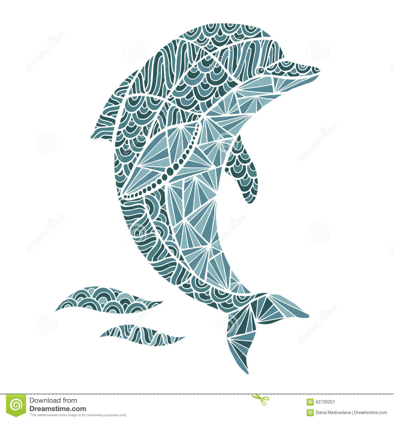 Stylized Vector Dolphin Zentangle Isolated Stock Vector