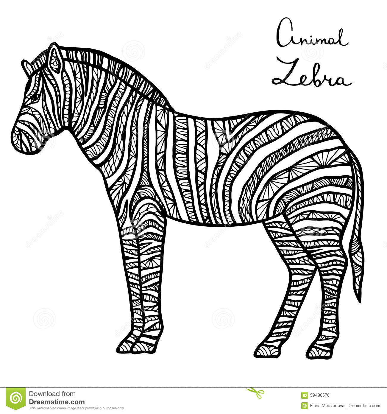 Stylized Vector Zebra Zentangle Isolated On White