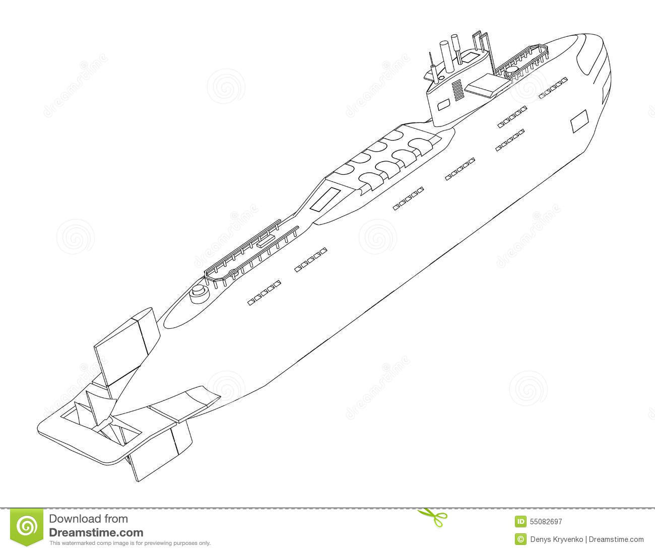 The Submarine Nuclear Outline Drawing On A White
