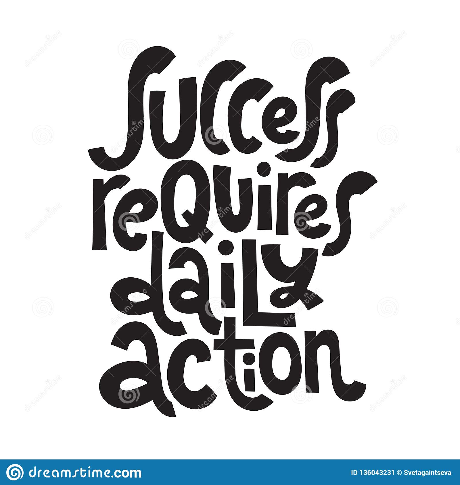Success Motivational Quotes Stock Vector Illustration Of Note Lettering 136043231