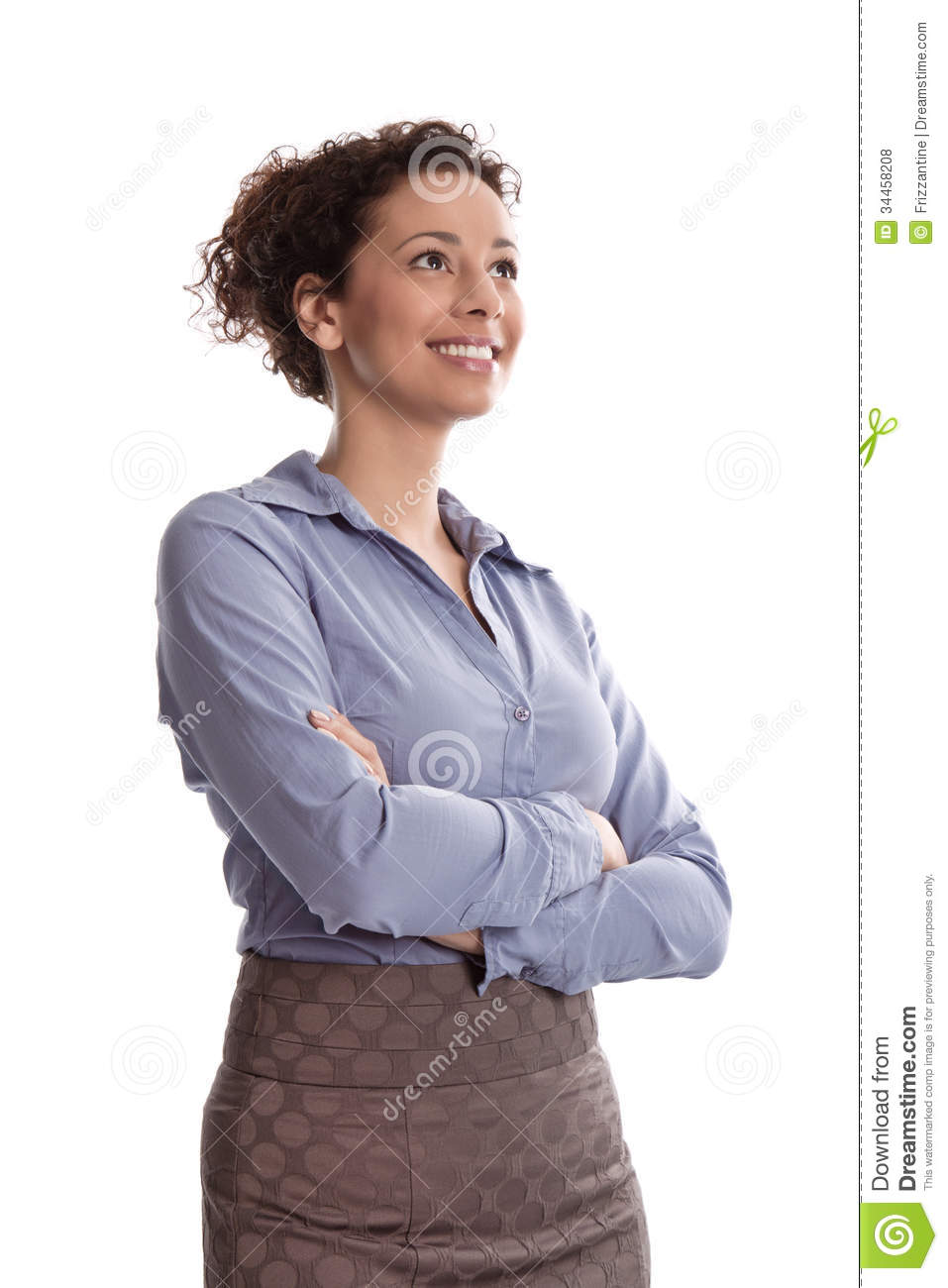 Success Satisfied Business Woman Smiling Wearing Blue