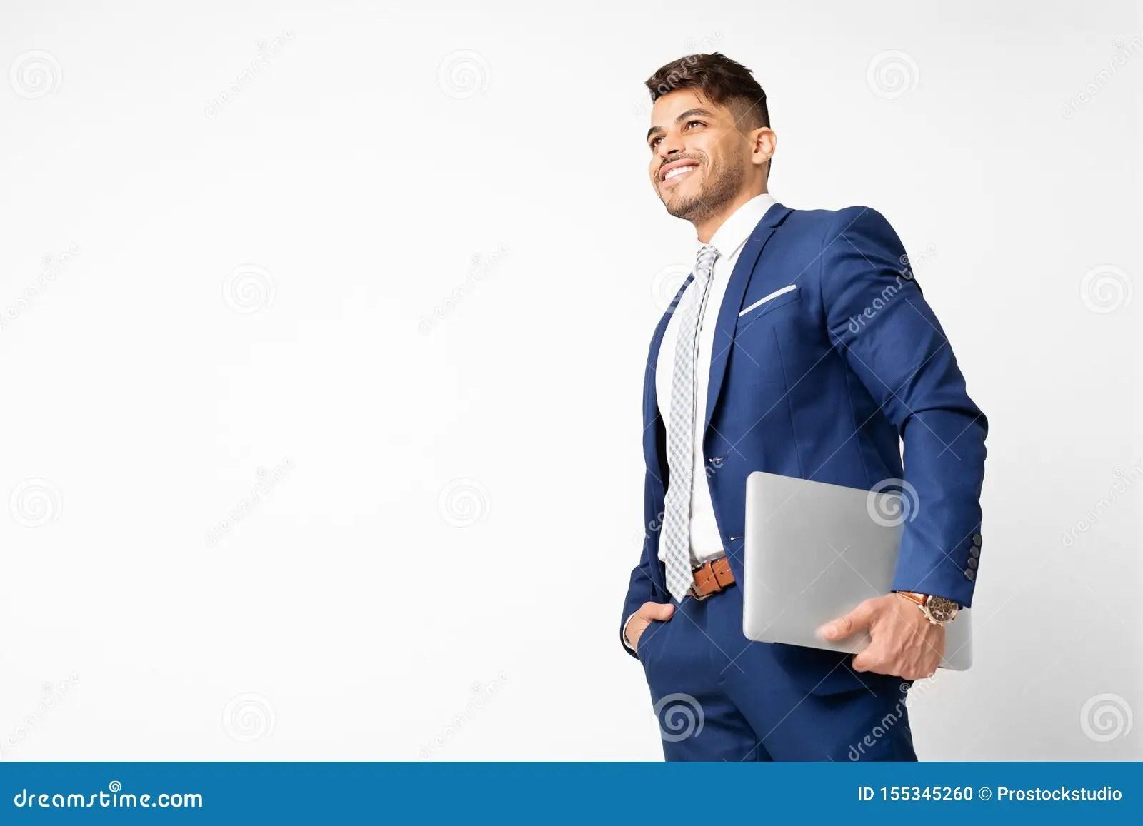 Successful Hispanic Business Man Holding Laptop On White Studio Background Stock Photo Image Of Internet Remote 155345260