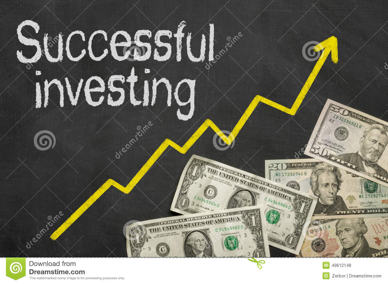 Successful investing stock photo. Image of chalk. expenditure - 49612148