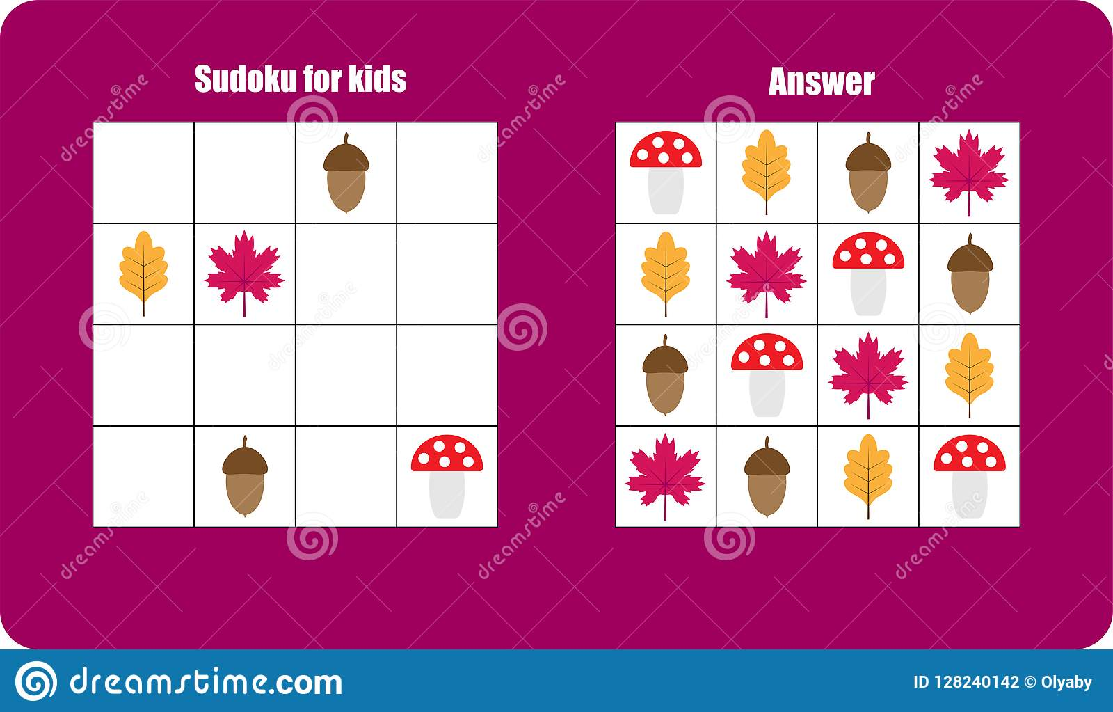 Sudoku Game With Autumn Pictures Mushroom Leaf For
