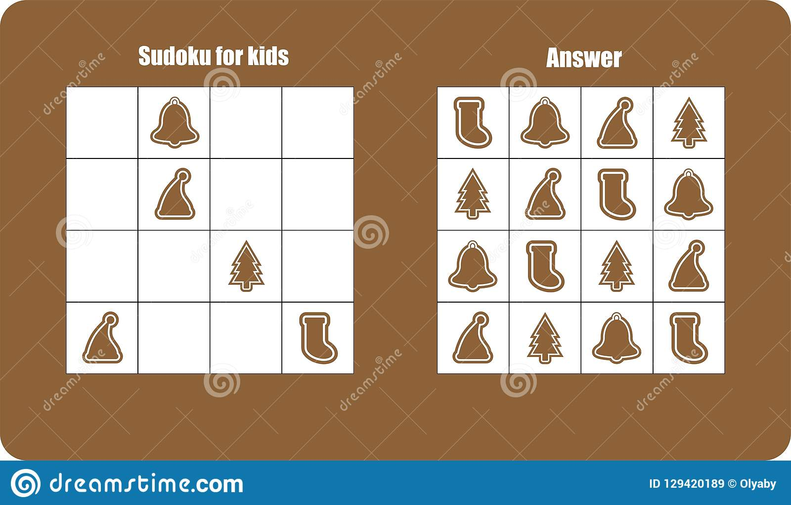 Sudoku Game With Christmas Pictures Gingerbread For