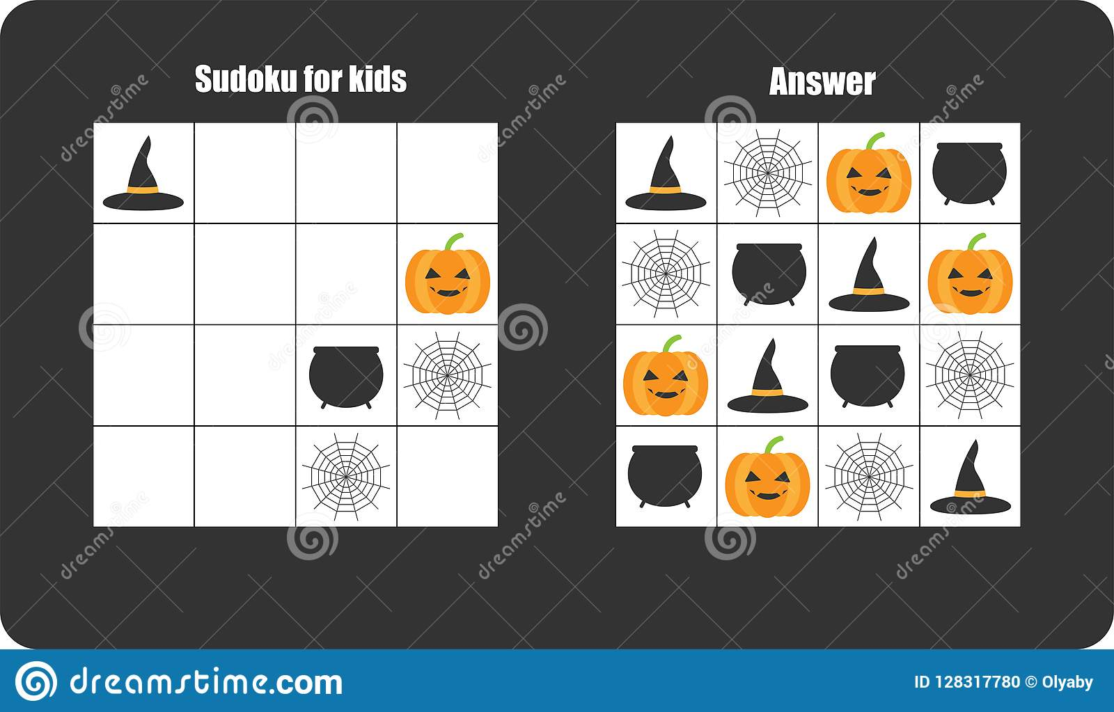 Sudoku Game With Halloween Pictures Cobweb Pumpkin For