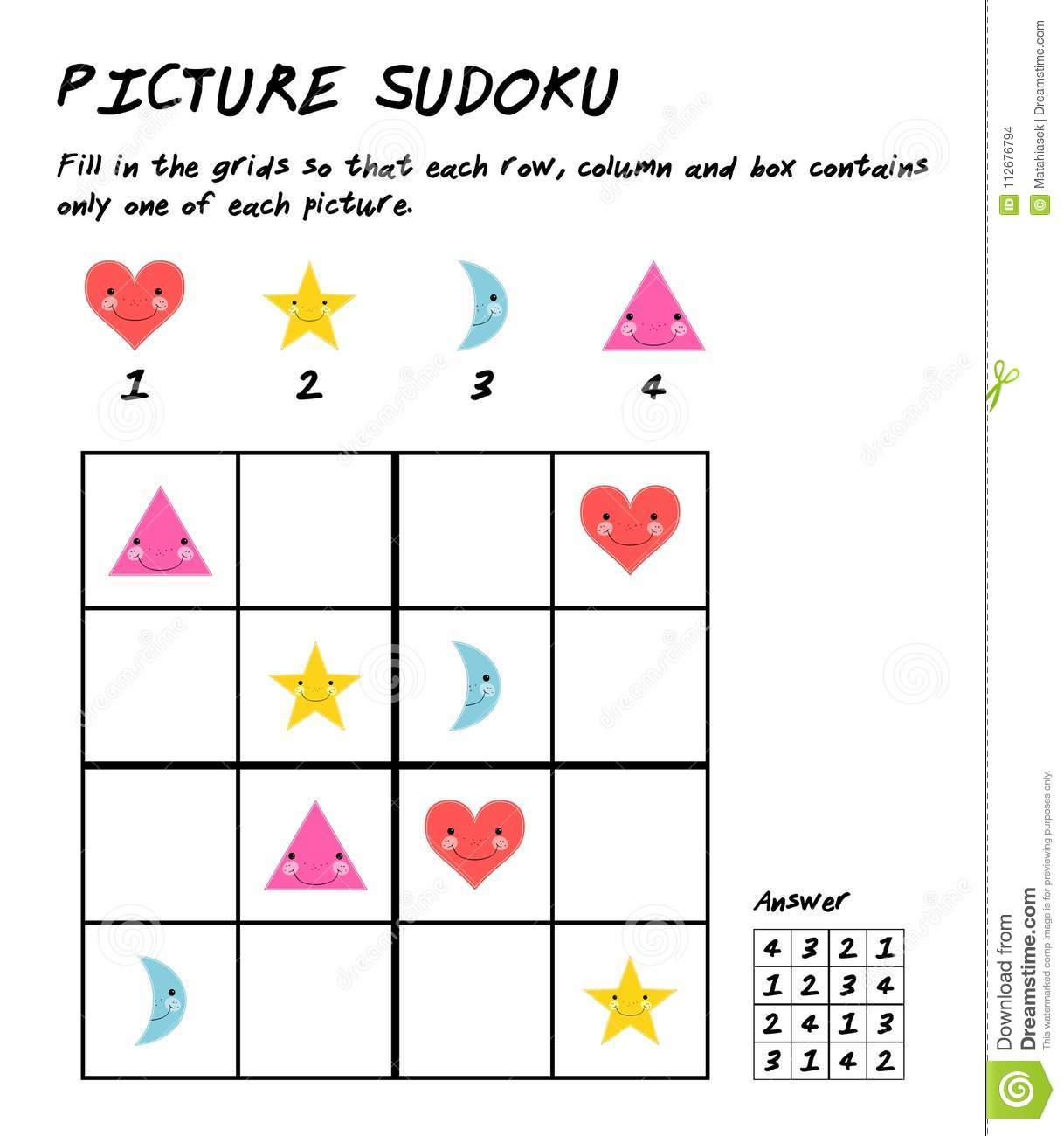 Sudoku Puzzle Game With Pictures Logic Educational Game