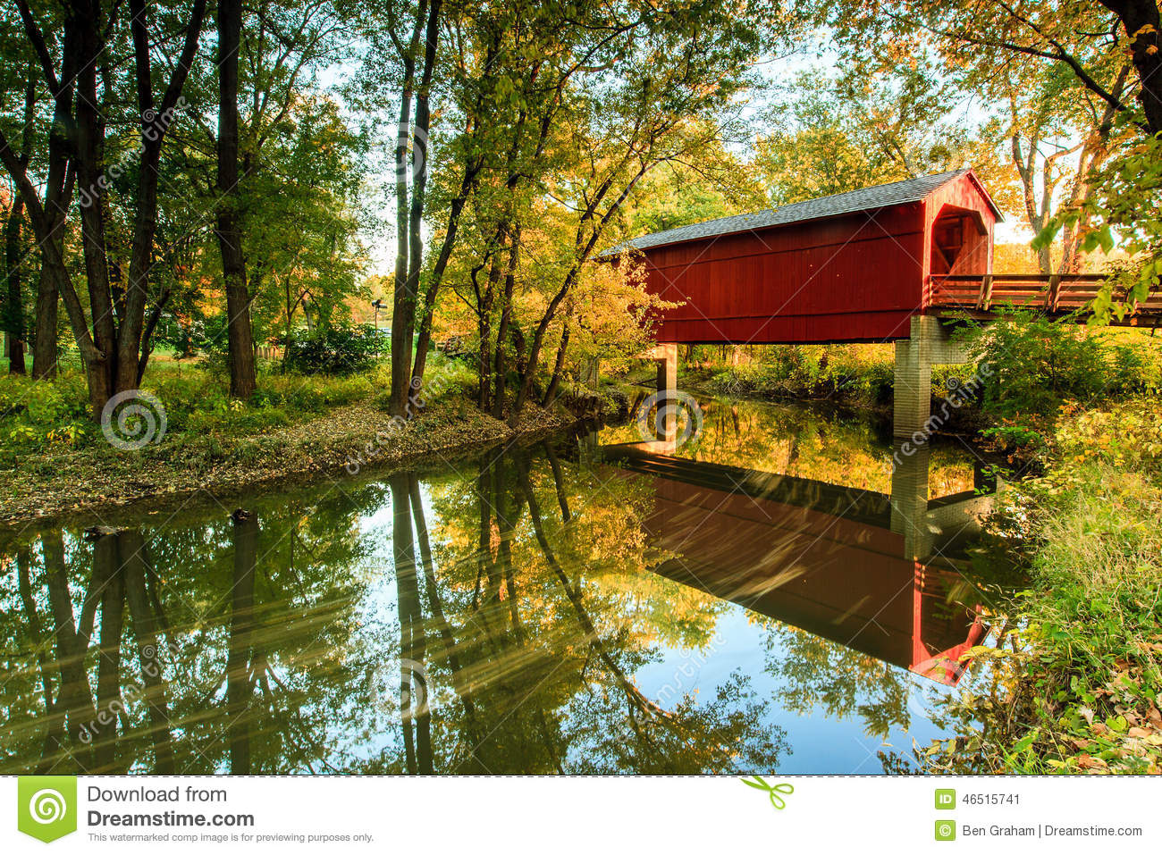 Beautiful Fall Scenery Wallpaper Sugar Creek Covered Bridge Stock Photo Image 46515741