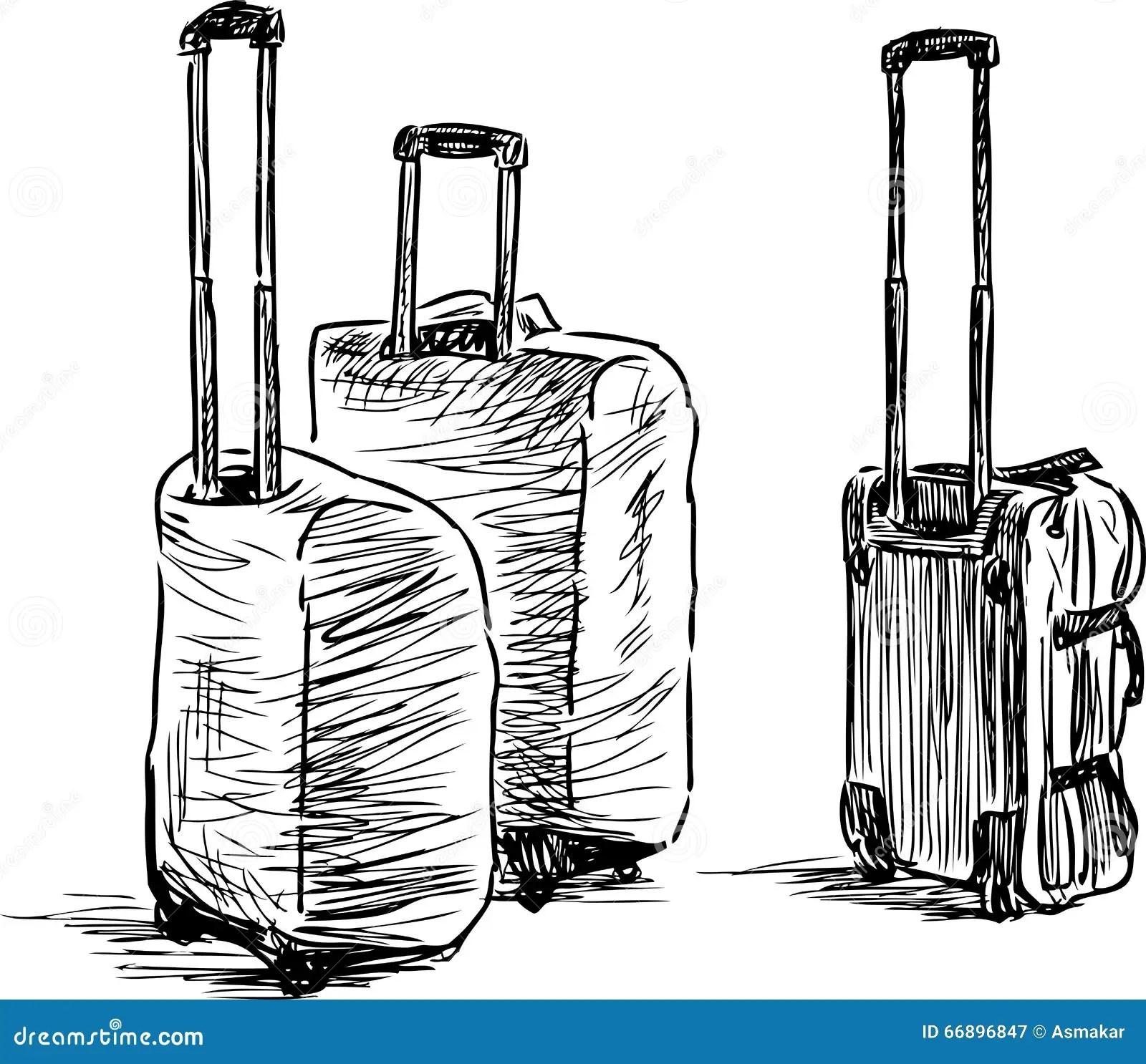 Suitcases sketch stock vector. Illustration of handbag