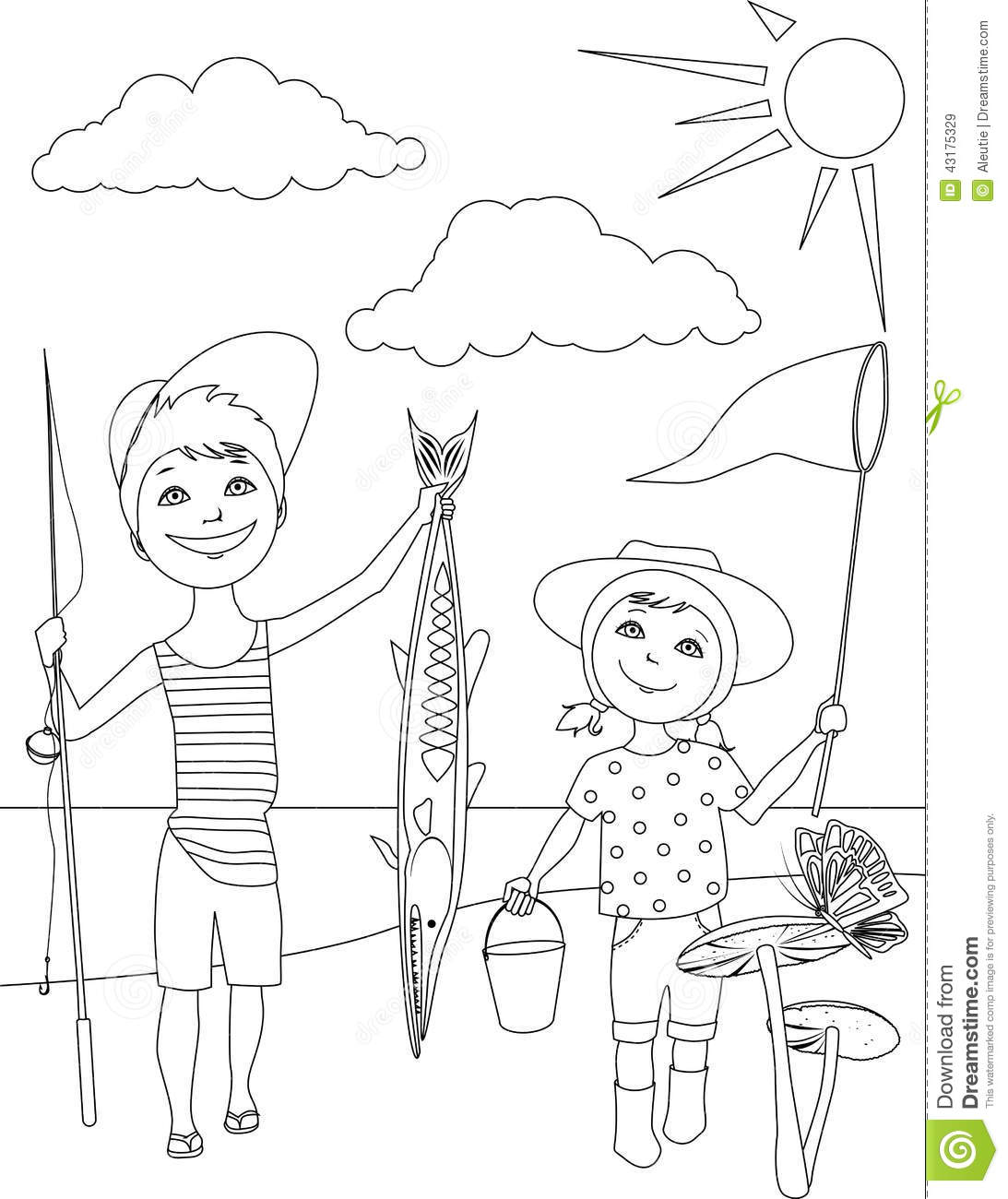 Summer Activities For Kids Coloring Page Stock Vector
