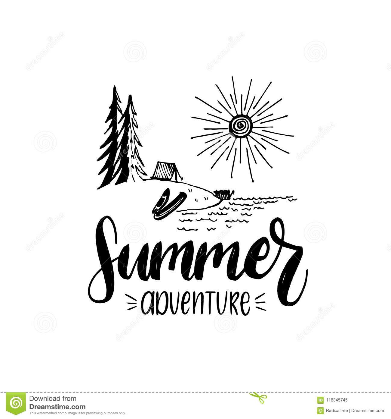 Summer Adventure Poster With Lettering. Vector Touristic