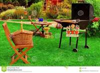 Summer Backyard BBQ Grill Party Or Picnic Scene Stock ...