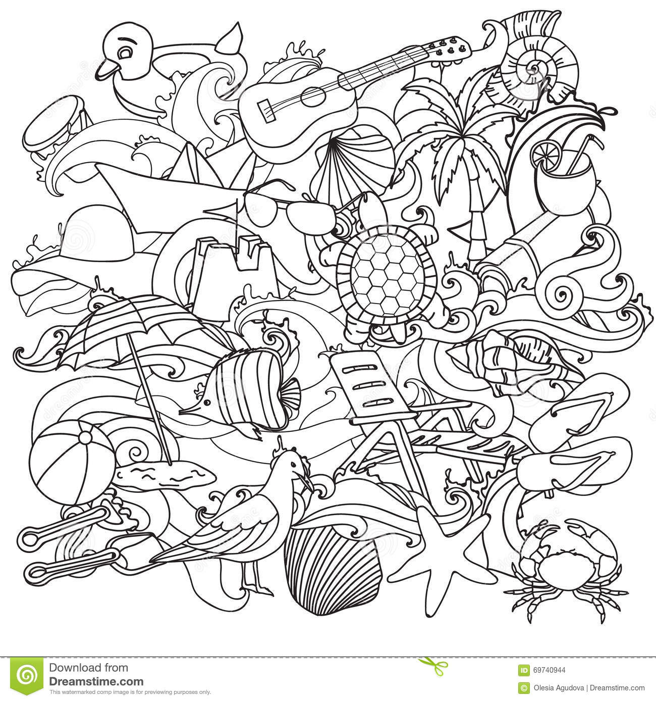 S Stock Illustration Summer Beach Hand Drawn Vector Symbols Objects Sketchy Doodle Cartoon Set Coloring Pages