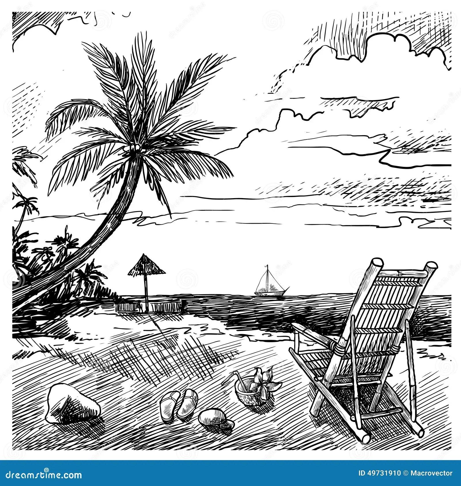 Summer Beach Sketch Stock Vector Illustration Of Holiday