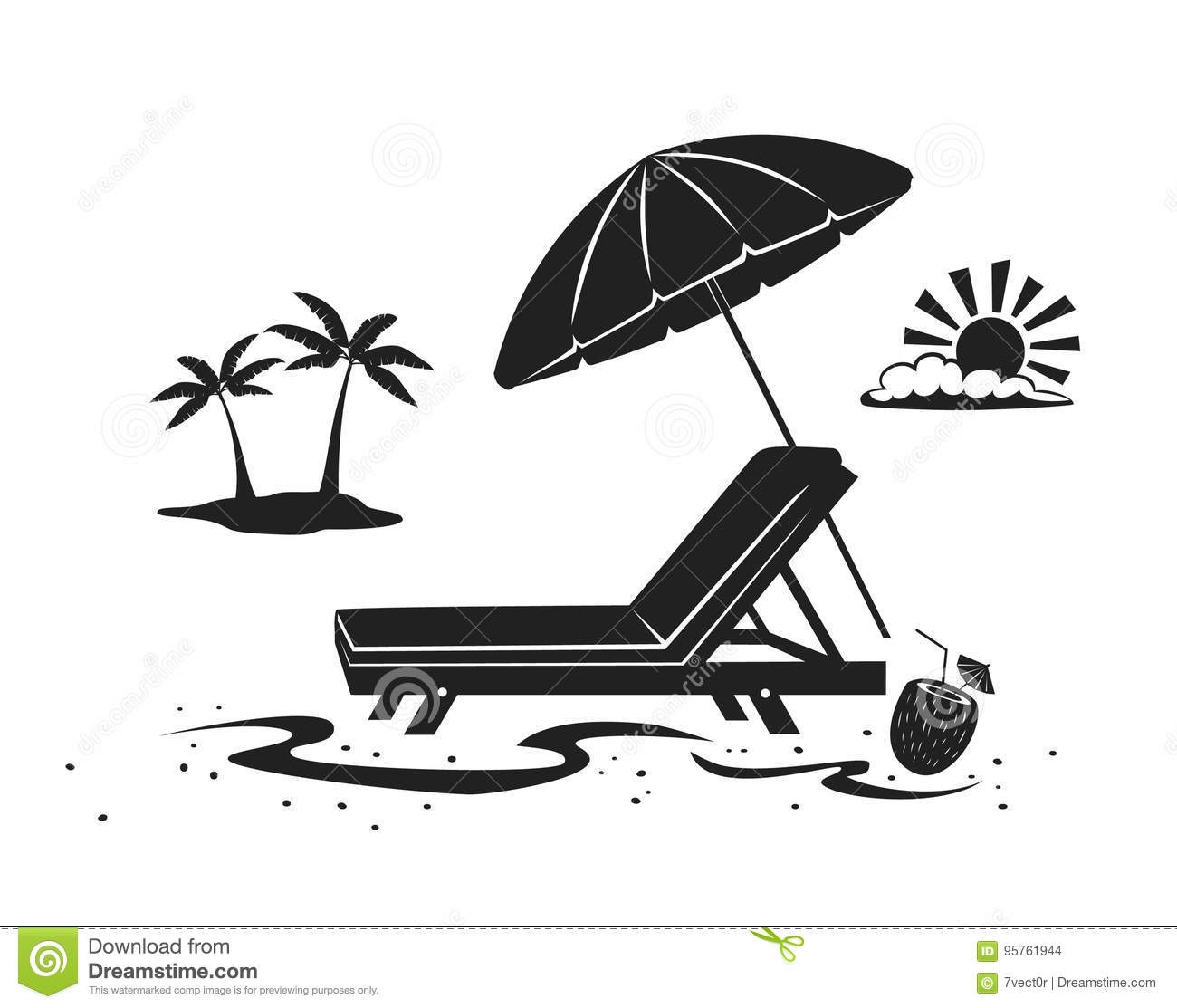 Summer Beach Time Vacation Silhouette Background With Umbrella Sun Lounge Chair And Palm Tree Stock Vector Illustration Of Sand Sunbath 95761944