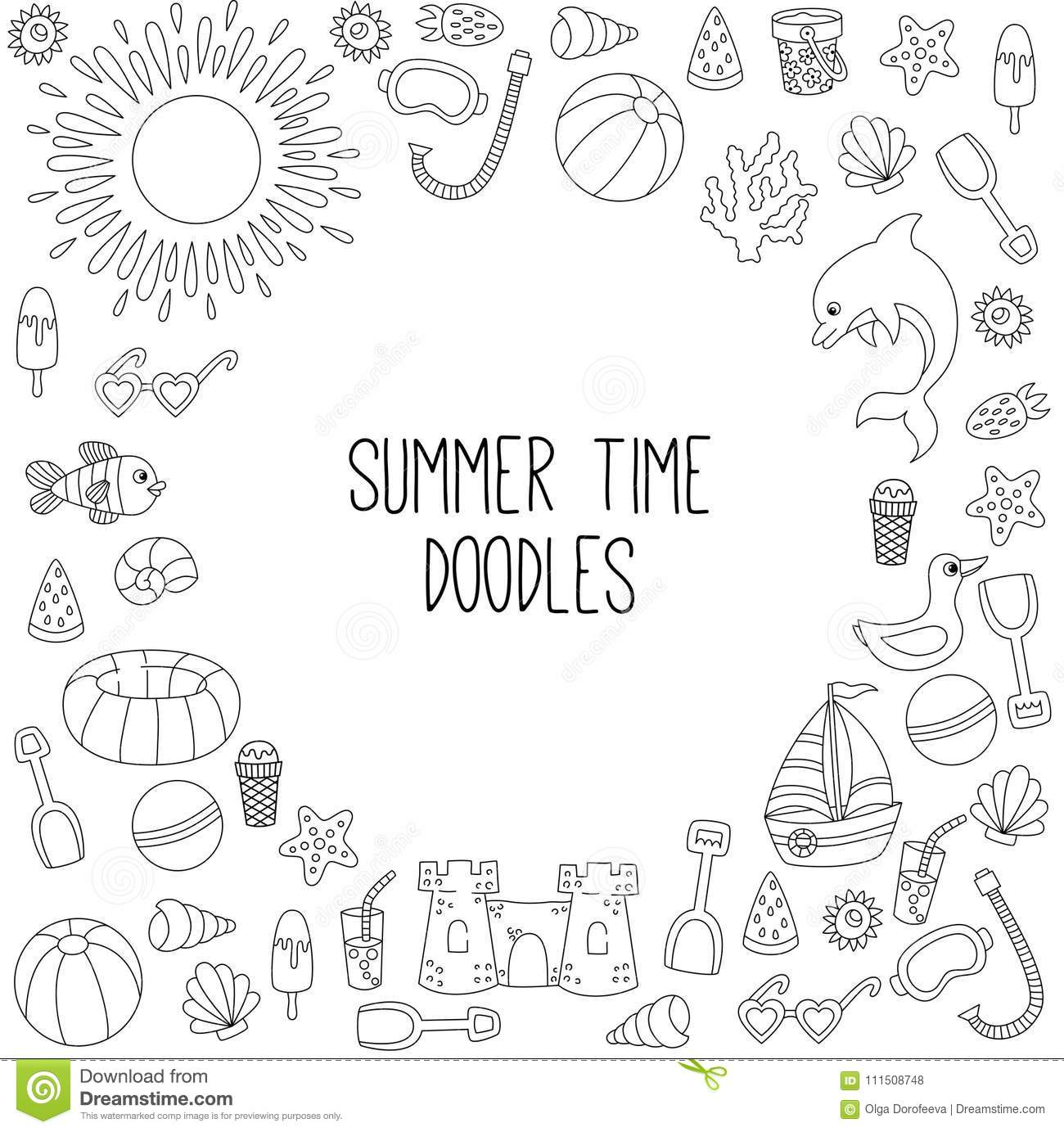 Summer Beach Travel Sea Vacation Icons Doodle Frame Border