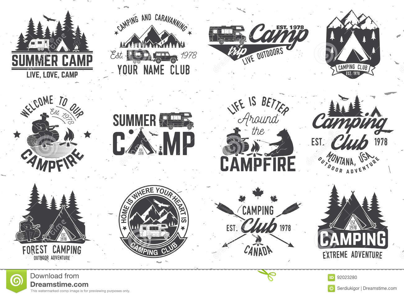 Summer Camp Vector Illustration Concept For Shirt Or