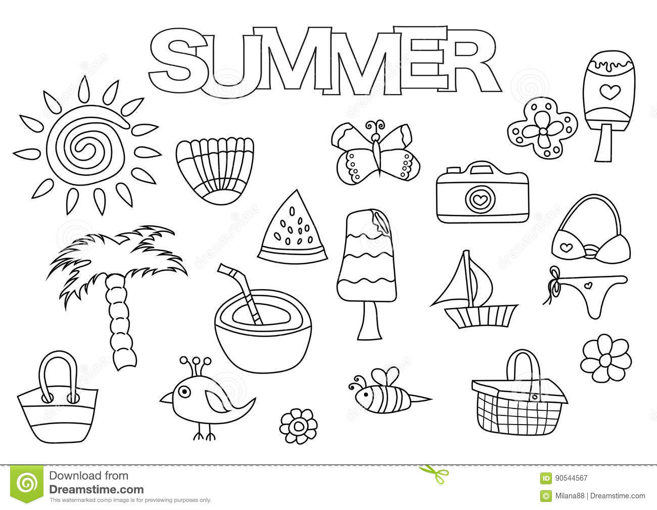 Summer Elements Hand Drawn Set. Coloring Book Template