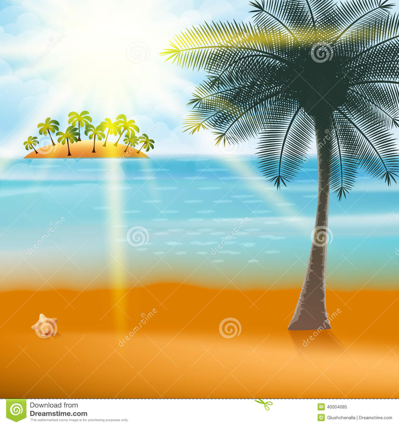Summer Holiday Flyer Design With Palm Trees Stock Vector  Image 40004085
