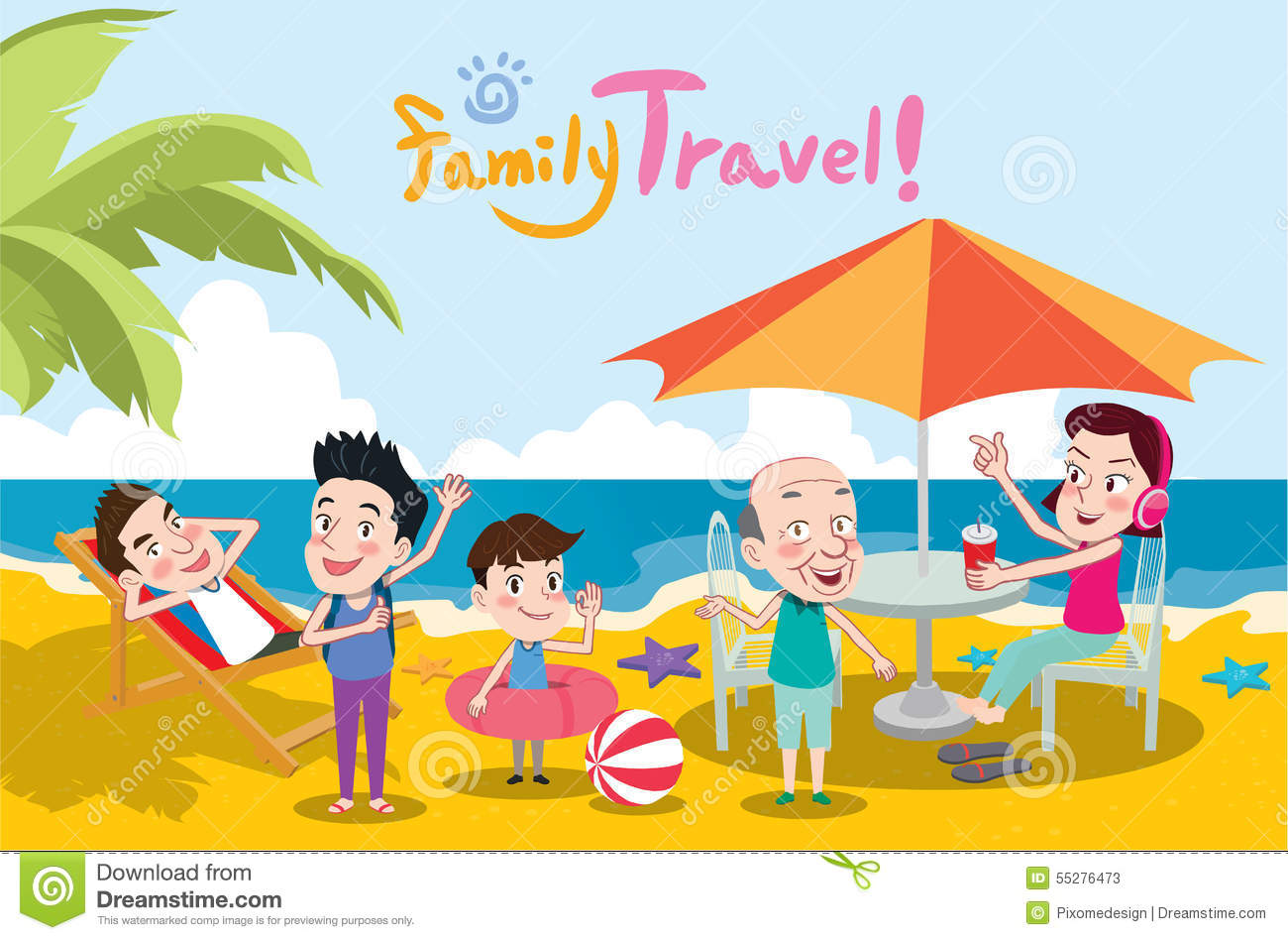Summer Holidays Illustration Flat Design Family Travel And Beach Concept Illustration 55276473 Megapixl