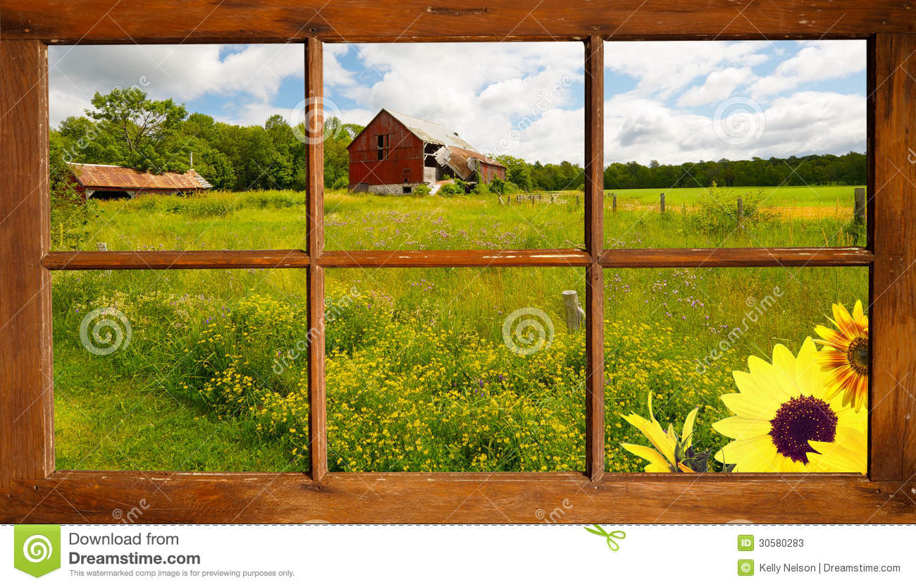 Summer Landscape Through A Window Stock Photos Image