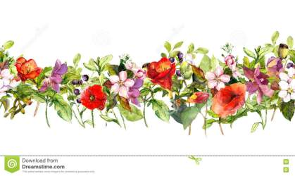 summer meadow flowers watercolor butterflies frame repeating border horizontal floral grass preview botanical