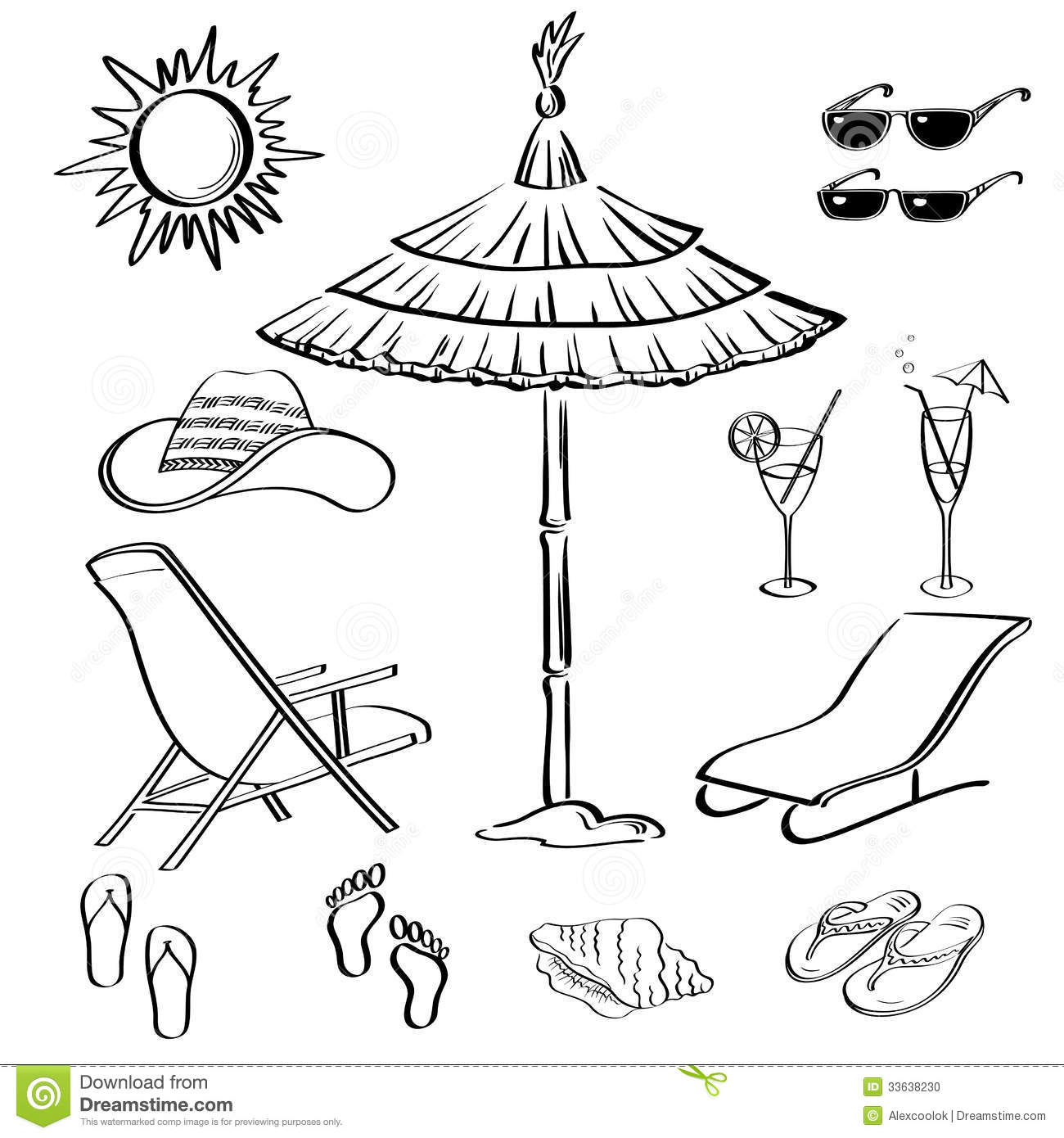 Summer Objects Outline Stock Vector Illustration Of