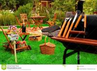 Summer Outdoor Backyard BBQ Grill Party Or Picnic Scene ...