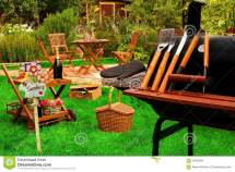 Summer Outdoor Backyard Bbq Grill Party Picnic Scene