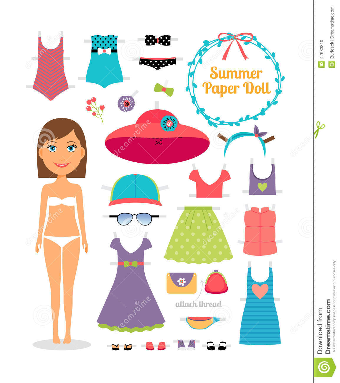 Summer Paper Doll Girl With Dress And Hat Stock Vector