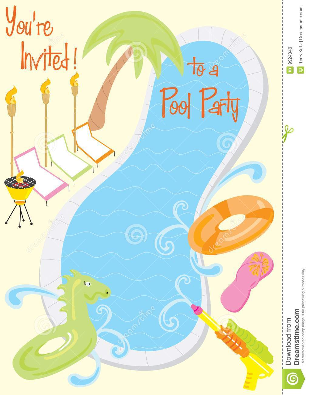 Summer Pool Party Invitation Stock Vector  Illustration