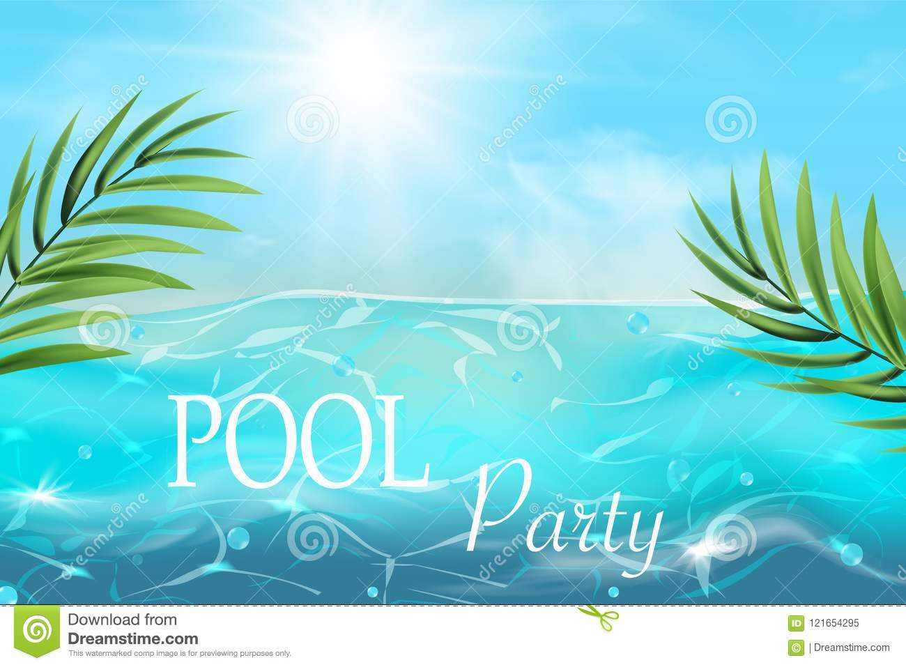 Summer Pool Party Invitation With Nobody Water Swimming Pool Vector  Background.