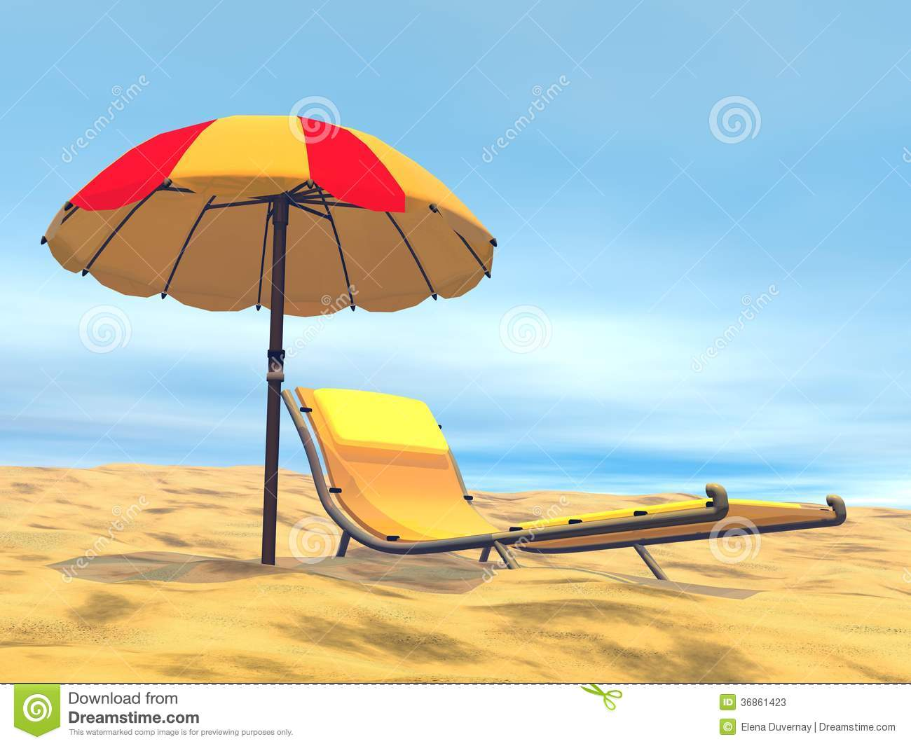 Long Beach Chair Summer Relaxation 3d Render Royalty Free Stock Photo