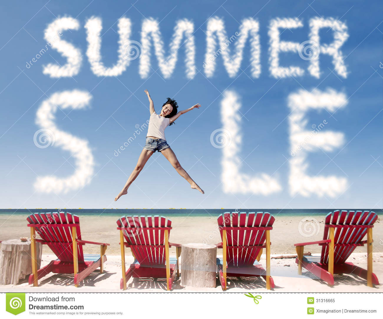 Beach Chairs On Sale Summer Sale Cloud With Girl Jumping Over Beach Chairs Stock Image