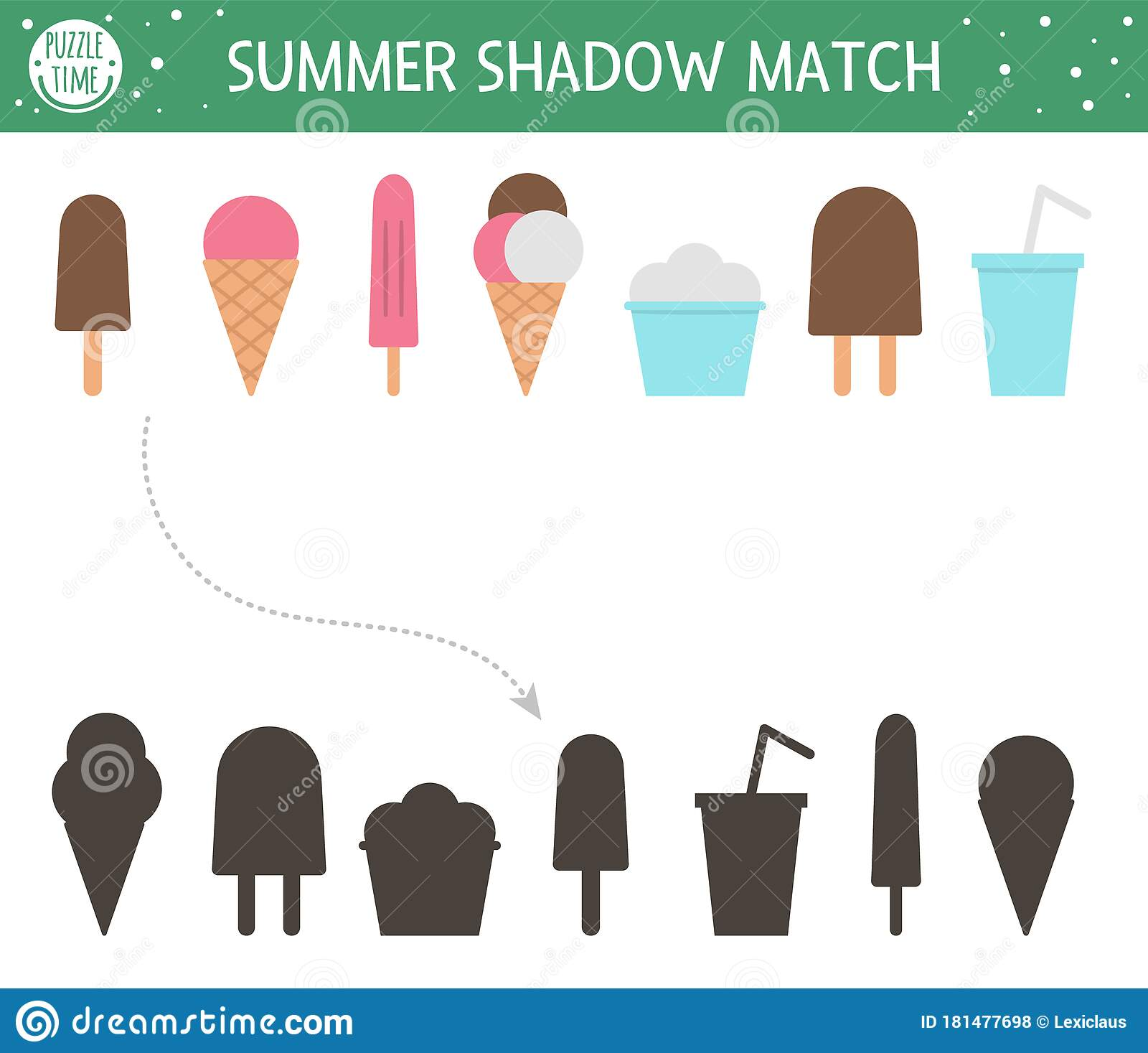 Summer Shadow Matching Activity For Children Preschool