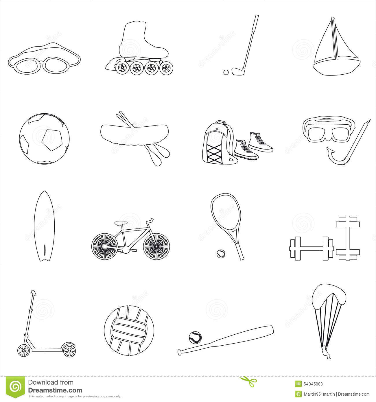 Summer Sports And Equipment Outline Icon Set Eps10 Stock